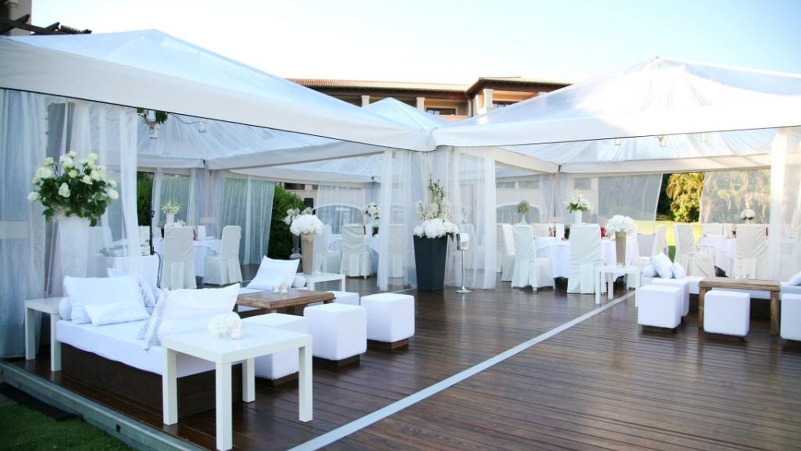 Wedding Dinner and dance floor set up including lounge area at the St. Regis Mallorca